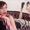 Shoe dangling in black mules photo set featuring foot fetish girl Emily Marilyn