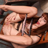 Emily Marilyn getting off in two tone vintage stockings and Gucci high heels